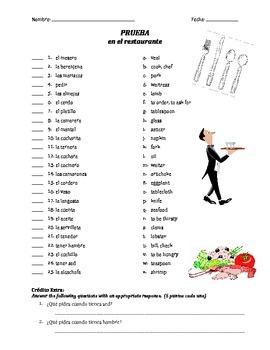 prueba de vocab - en el restaurante (matching)