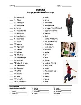 prueba de vocab - la ropa (matching)