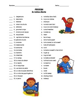prueba de vocab - la rutina diaria (matching)