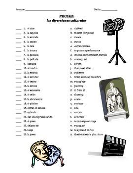 prueba de vocab - las diversiones culturales (matching)