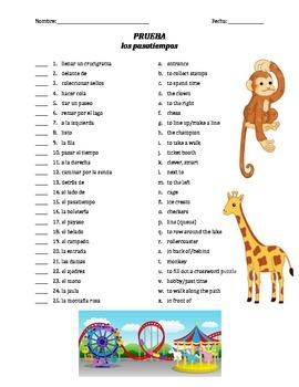 prueba de vocab - los pasatiempos y el parque de atracciones (matching)