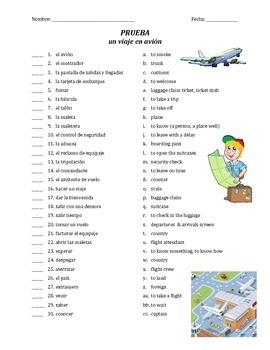 prueba de vocab - un viaje en avion y el aeropuerto (matching)