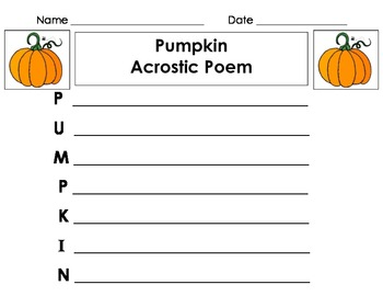pumpkin acrostic poem for fall!