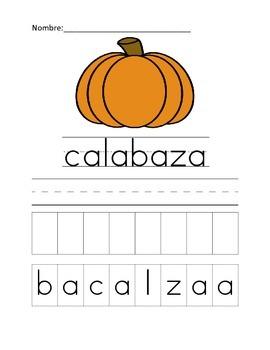 pumpkin/calabaza cut and paste
