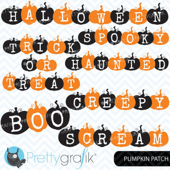 pumpkin halloween words clipart, commercial use, vector graphics - CL571