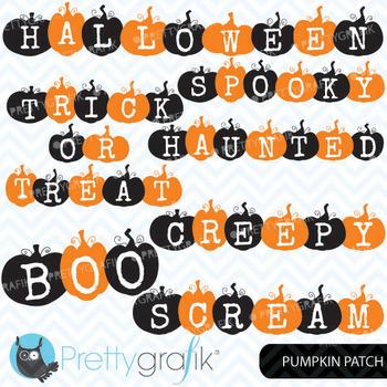 pumpkin halloween words clipart, commercial use, vector gr