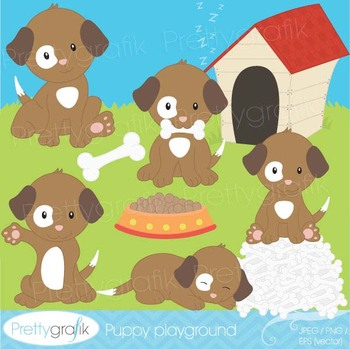 puppy dog clipart commercial use, vector graphics, digital clip art - CL528