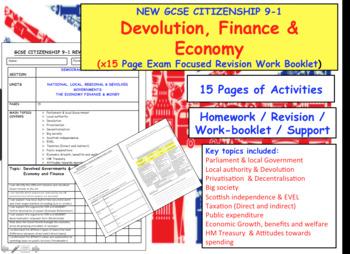 px15 pages of revision activities Devolution, Finance & Economy GCSE CITIZEnship