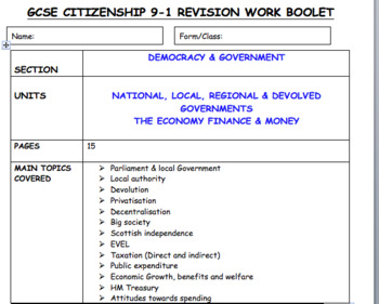 px15 pages of revision activities Devolution, Finance & Economy GCSE CITIZEnship