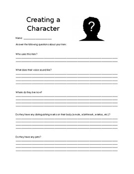 questions for creating a character worksheet