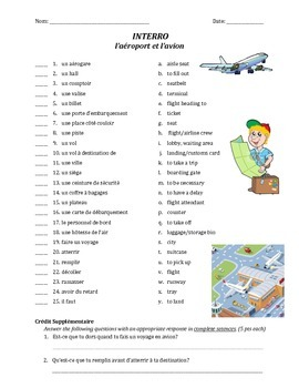 quiz de vocab - l'aéroport et l'avion (matching)