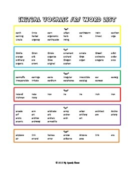 /r/ Articulation Word Lists