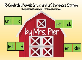 r-Controlled Vowel (er, ir, ur) Dominoes (Compatible Journeys 1st Grade Less. 22