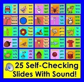 r-Controlled Vowels  Game for Google Slides: Self-Checking With Sound!