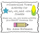 r Controlled Vowels   (-ar, -or, -ore) Word Activity Freebie
