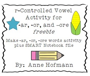 r Controlled Vowels (-ar, -or, -ore) Word Activity Freebie | TpT