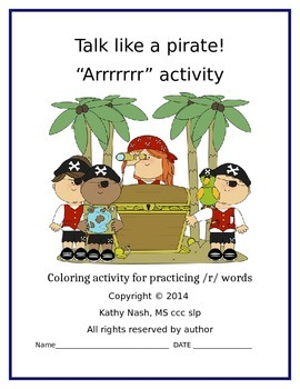Articulation /r/ Pirate Coloring Activity