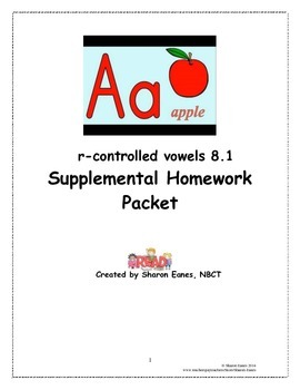 r-controlled Vowels 8.1 Supplemental Homework Packet