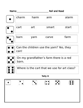 r controlled vowel (AR) phonics partner reading game
