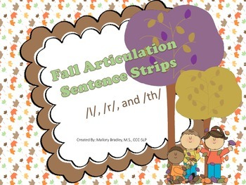 r, l, and th-Fall Articulation/Language Sentences/Activiti