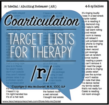 Articulation Therapy Sound Lists: /r/, /r/ blends, & /ɝ/ {with coarticulation}