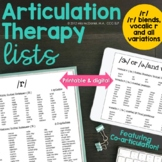 Articulation Therapy Sound Lists: /r/, /r/ blends, & /ɝ/ {