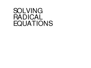 radical equations powerpoint how to solve