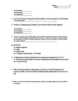 radioactivity and specific heat quiz