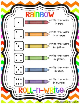 Rainbow roll n write freebie by a cupcake for the for Rainbow writing spelling words template