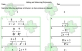 rational expressions packet St.Patrick's Day Theme