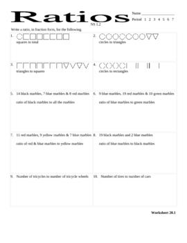ratios worksheet - CA standard 1.2