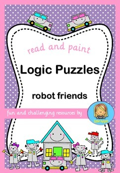 Logic Puzzles Robot Friends  read and paint
