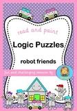 Logic Puzzles Robot Friends  read and paint