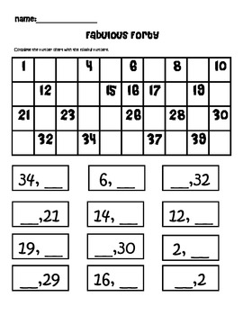 read and write numbers to 40 packet
