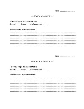 read to self progress sheet