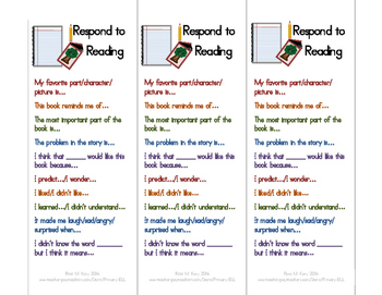 reader response bookmarks (English and Spanish)