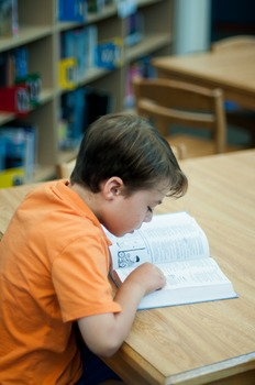 Stock Photo: Student Reading a Book in the Library #5 -Per