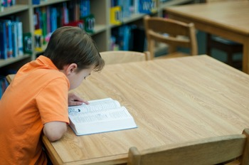 Stock Photo: Student Reading in the Library #6 -Personal &