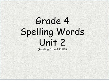 Grade 4 Unit 2 Spelling word cards for Reading Street (2008)