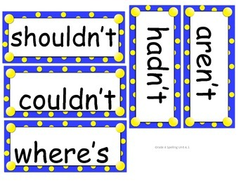 Grade 4 Unit 4 Spelling word cards for Reading Street (2008)