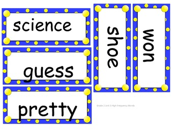 Grade 2 High Frequency/Vocabulary Words Unit 3 for Reading