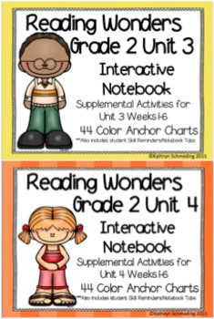 Reading Wonders Grade 2 Unit 3 and 4 Interactive Notebook/