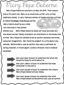 reading comprehension Mary Pope Osborne