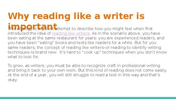 reading like a writer introductory lesson