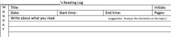 reading response log; independent reading; homework log