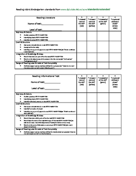 reading rubric kindergarten extended standards