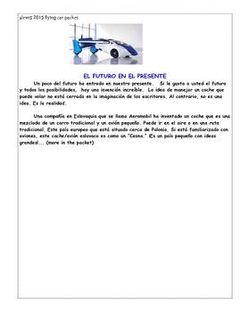 reading/writing activities Spanish current event! flying car!