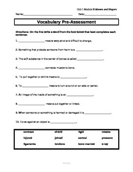 ReadyGen Unit 1 Module B: Vocabulary Assessments for Mover