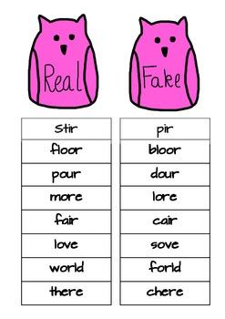 real fake word sort owl theme