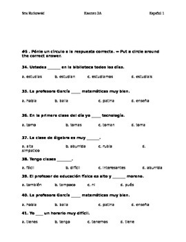 realidades 1 Tema 2A alternative chapter test